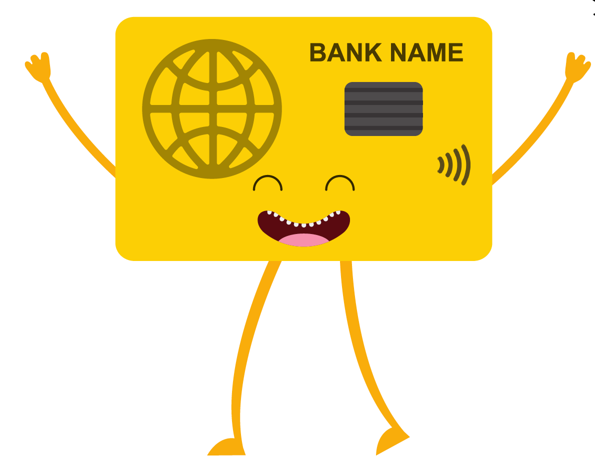 Credit card with arms and legs