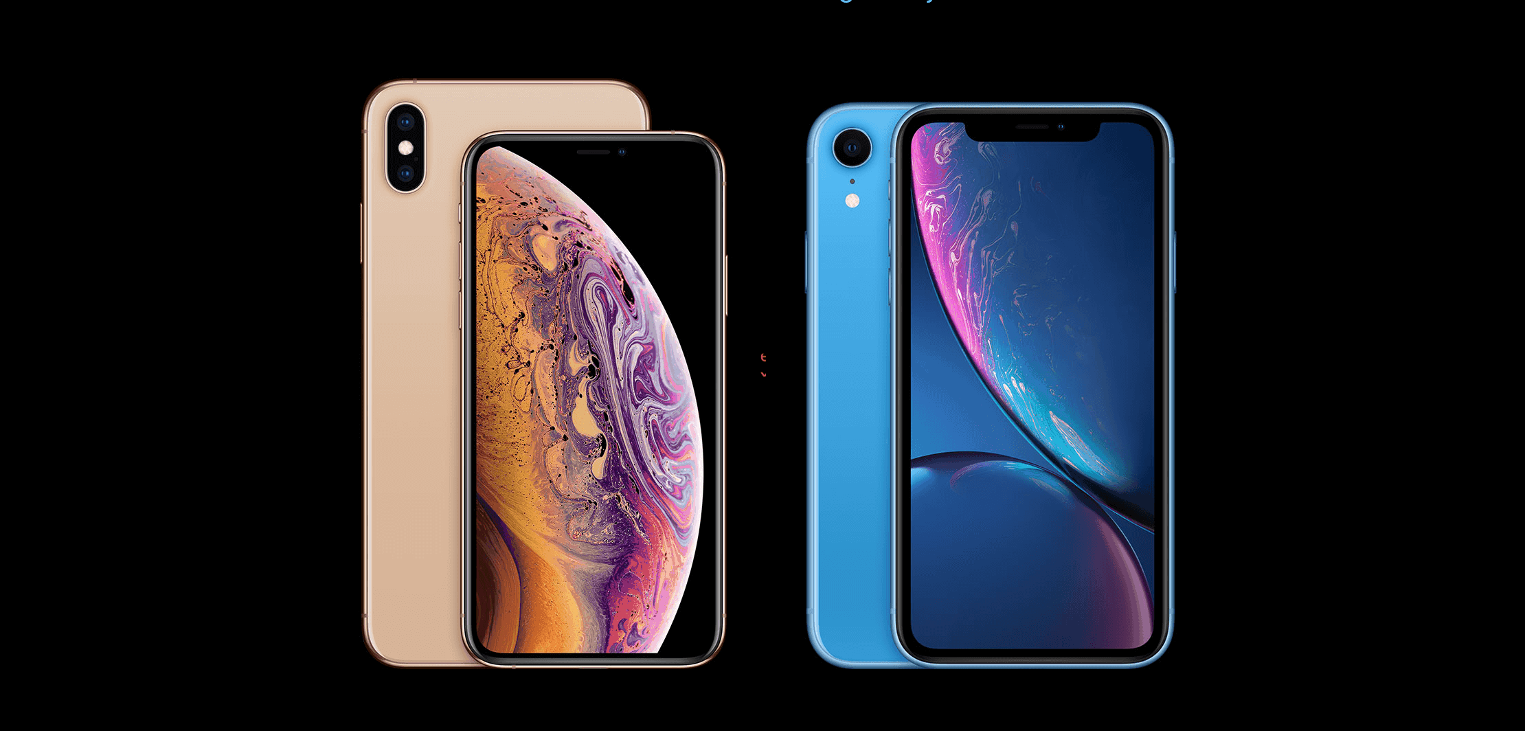 Apple Iphones side by side front and back